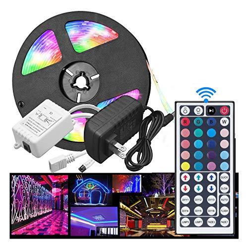 16.4Ft Modern Led Strip Lights,Waterproof Color Changing 5050 RGB 300 LEDs Light Strips Kit with 44 Keys Remote, 12V Us Power Supply,Easy to Setup