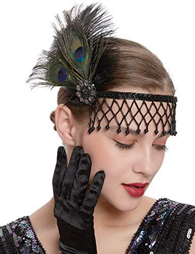 Coucoland - Cinta para el pelo para mujer de los años 20 con plumas, diseño de plumas y plumas, para carnaval, disfraz de gatsby Estilo 1 - pavo real Talla única