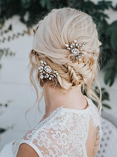 Unicra Novia Boda Cristalino Horquillas para el cabello Nupciales Tocados de boda Piezas de cabello Accesorios para mujeres y niñas Paquete de 2 (plata)