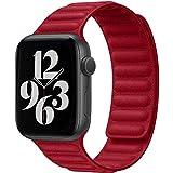 Fengyiyuda Correa Compatible con Apple Watch Correa 38mm 40mm 42mm 44mm,Correa Ajustable Correa de eslabones de Piel Fuerte magnético Compatible con iWatch Series SE/6/5/4/3/2/1(42/44mm Rojo)