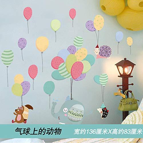 Cartoon Wandaufkleber Schlafzimmer Wanddekoration selbstklebendes Papier Umwelt layout14. Tiere auf luftballons_extra groß