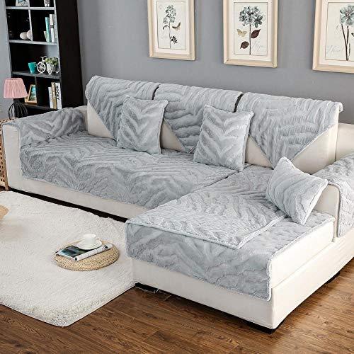 YUTJK Épaissir Tissu en Housse De Canapé Antidérapant Housse Housse De Style Européen Housse De Canapé Canapé Serviette pour Salon Décor/Gris