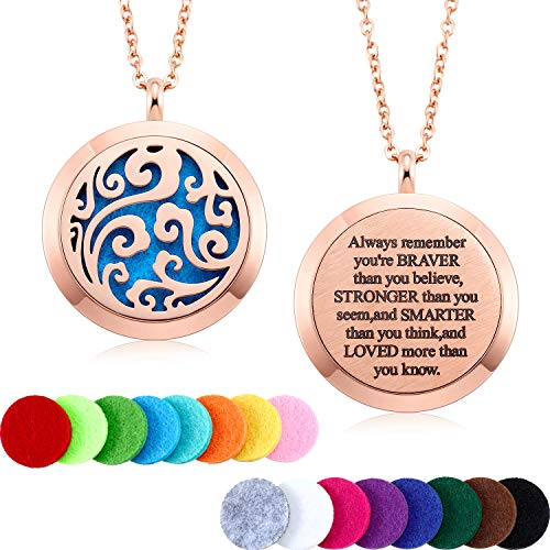 MTLEE Aromatherapy Essential Oil Diffuser Necklace Locket Pendant Stainless Steel Perfume Necklace with 16 Refill Pads and 24 Inch Adjustable Chain (Cloud, Rose Gold)