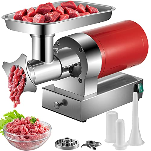 VEVOR Electric Meat Grinder, 661 Lbs/Hour1100 W Meat Grinder Machine, 1.5 HP Electric Meat Mincer with2GrindingPlates,SausageKit Set Meat Grinder Heavy Duty, Home Kitchen & Commercial Use Red