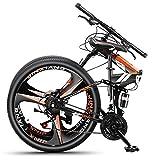 UNCTAD 24 Pulgadas Freno de Doble Disco Bicicleta Plegable Hombres - Naranja 21 velocidades Bicicleta Montaña Suspensión Completa - Bicicleta de montaña para una Altura de 155-175 cm