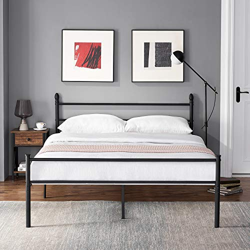 VECELO Double Bed Frame Metal Bed Platform Mattress Foundation with Headboard & Footboard, Fashion Simple Style for Adult,Kids, Teenagers (Black, 190 * 135cm)