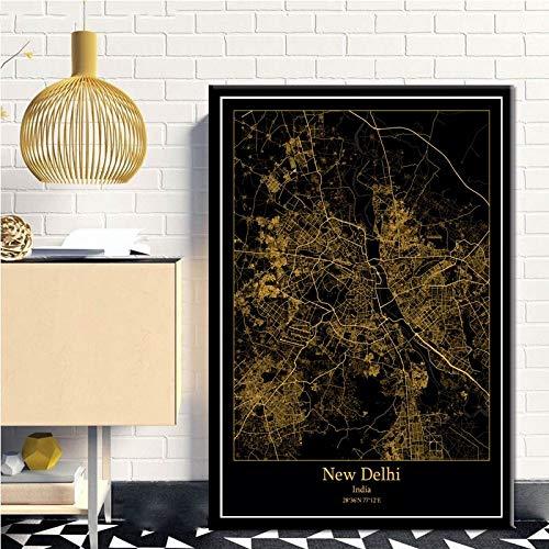 Cuadro En Lienzo,Norte De Europa Negro Negro Moderno Mapa Dorado Carteles Nuevas Delhi India Ciudad No Tejida Mural 3D Imagen Vertical Pintura De Pared Arte, Dormitorio Decoraciones Del Hogar Oficina