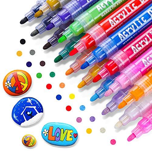 RATEL Acrylstifte Marker Stifte, 18 Farben Premium Acrylstifte Wasserfest Paint Marker Set Acrylic Paint Pens Acrylic Stifte Zum Malen Acryl Stifte für DIY Stein,Papier, Glasmalerei