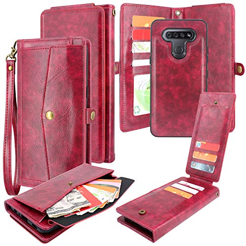 CMIDUS 2 in 1 Detachable Magnetic Flip PU Leather Wallet Case with Money Bill Pocket Purse 10 Credit Card Slots Wristlet Removable Cover for LG K51 Reflect Q51 L555DL(Wine Red)