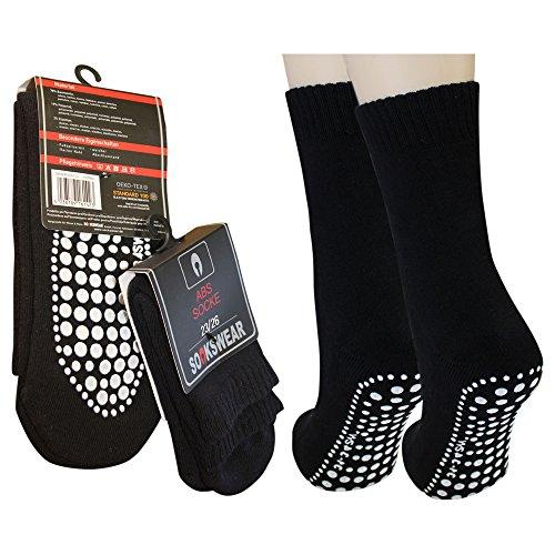 3 Paar Damen Herren ABS Socken Anti Rutsch Socken Stoppersocken Noppensocken (35-38, Anthrazit)