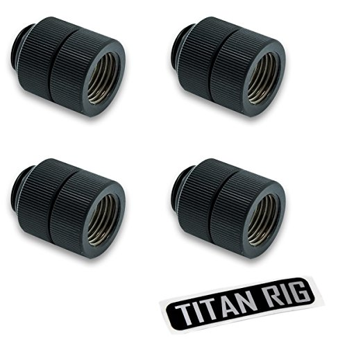 "EKWB EK-AF G1/4"" Rotary Male to Female Extender Fitting, Black, 4-Pack"