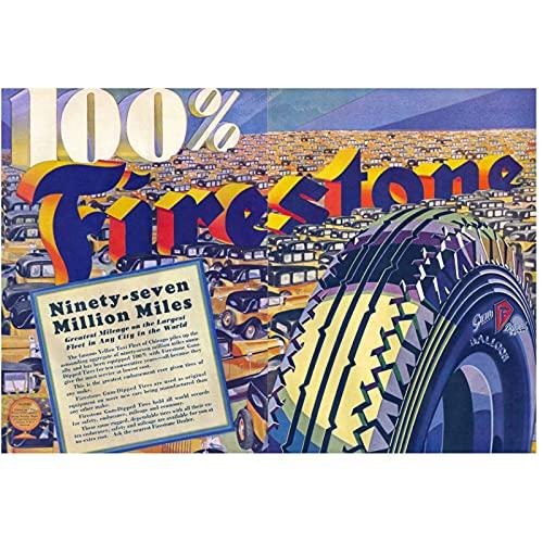 Carteles publicitarios retro 100% FIRESTONE Anuncios de neumáticos sumergidos en goma Lienzo de pared clásico Cartel vintage Decoración de bar para el hogar Regalo-60x90 cm x1 Sin marco
