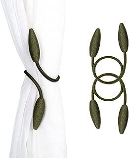 EleCharm 2-Pack Diverse Clip Styles Curtain Tiebacks Fabric Window Drape Twist Tie Backs Curtain Holders Hold Back (Amy Green)