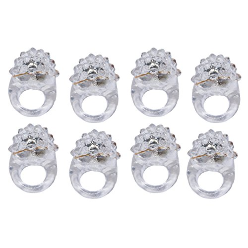 Blinkring 8er Set - Das Original - Diamant-Edition - Blinkende LED Party Ringe (weiß)