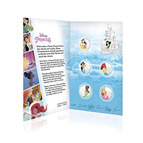 IMPACTO COLECCIONABLES Disney-Prinzessin-Gesamtkollektion 01 - 50p Silbersammelmünze in Form Einer 50-Pence-Gedenkmünze / Offizielle Disney-Geschenkartikel in limitierter Auflage