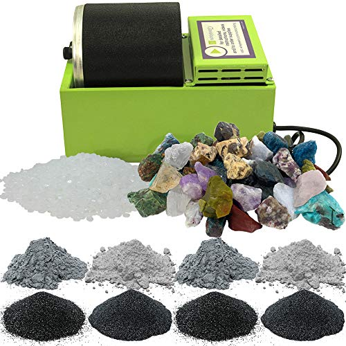 WireJewelry Single Barrel Rotary Rock Tumbler Madagascar Mix Deluxe Kit, Includes 3 Pounds of Rough...