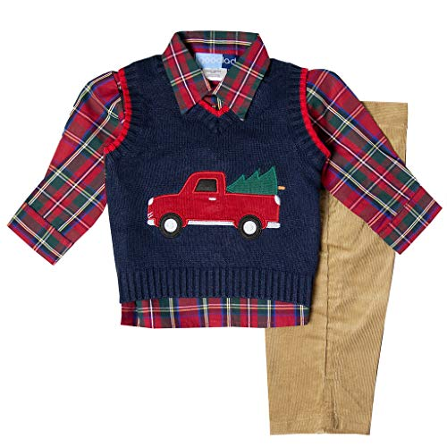 Good Lad Toddler Boy Navy Three Piece Sweater Vest Set with Christmas Themed Applique (6)