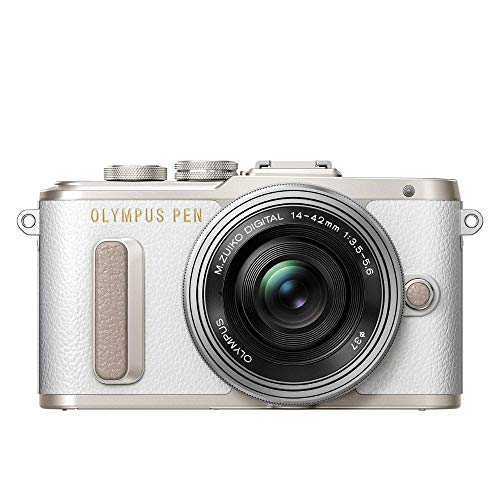 Olympus PEN E-PL8 Kit, Micro Four Thirds Systemkamera (16 Megapixel, Bildstabilisator, elektronischer Sucher, FHD Video) + M.Zuiko 14-42mm EZ Zoomobjektiv, weiß/schwarz