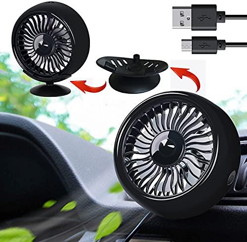 Ventilador de coche para rejilla de ventilación de coche montado por USB, mini ventilador eléctrico para coche, giratorio 360°, potente ventilador de aire con luz multicolor