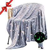 Glow in The Dark Throw Blanket, Cozy Fleece Throw Blanket with Star Moon, Soft Flannel Grey Throw Blanket for Couch Bed in All Seasons, Best Fun Gift for Women, Men, Kid, 60' x 80', Grey