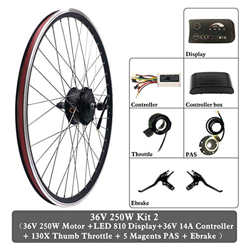 GGD Electric Bicycle Conversion Kit 48V 350W Wheel Electric Bicycle Conversion Kit hub Motor Wheel with LCD6 Display 16-28 inch 700C E-bike,16inch LCD Sets