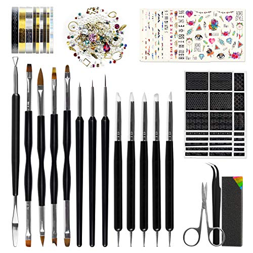 Nail Art Tools Fashion Design - 8 Size Painting Brushes, 5 Carving/Dotting Pen, 12 Style Decals/Stencils, Striping Tapes, Irregular 3D...