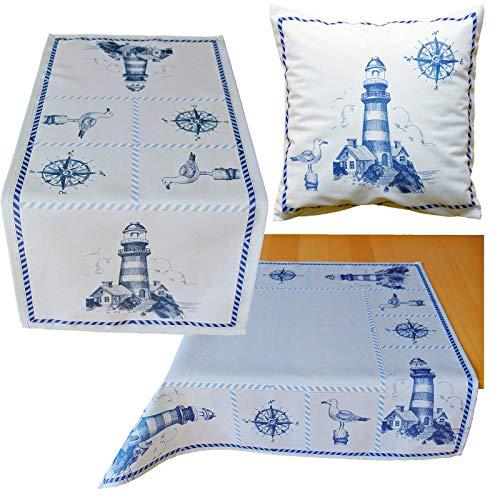 heimtexland ® Esszimmer Serie Maritim Tischdecke Sylt Tisch Dekoration Leuchtturm Blau Mitteldecke 85x85 Typ684
