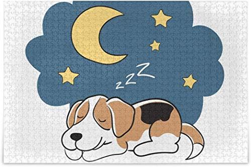 Rompecabezas para adultos 1000 - Lindo perro durmiendo luna estrella rompecabezas piezas para adolescentes juegos de rompecabezas duro
