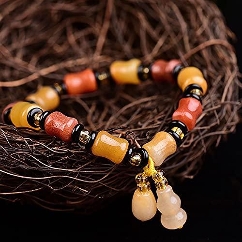 Feng shui riqueza pulsera xinjiang imperial jade bambú perlas bambú pulsera longevidad wu lou/calabash/calabaza afortunada encanto chakra curación pulsera prosperidad suerte físico chi recogida