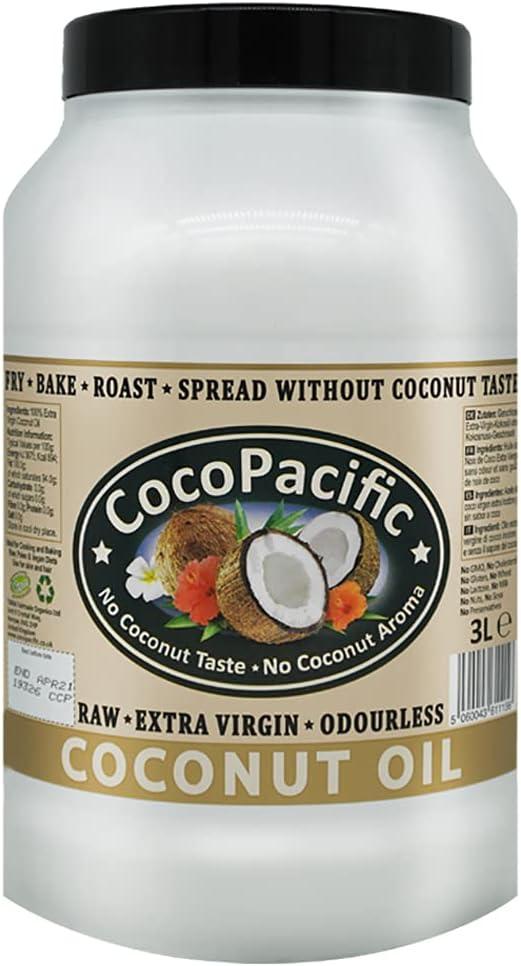 CocoPacific - Aceite de coco virgen extra crudo e inodoro, 3 L