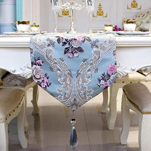 Camino de mesa azul, moderno minimalista de lujo, bandera de jacquard, bandera europea, tira larga, resistente al calor, mantel individual para decoración de la boda del hogar a 30 cm x 250 cm