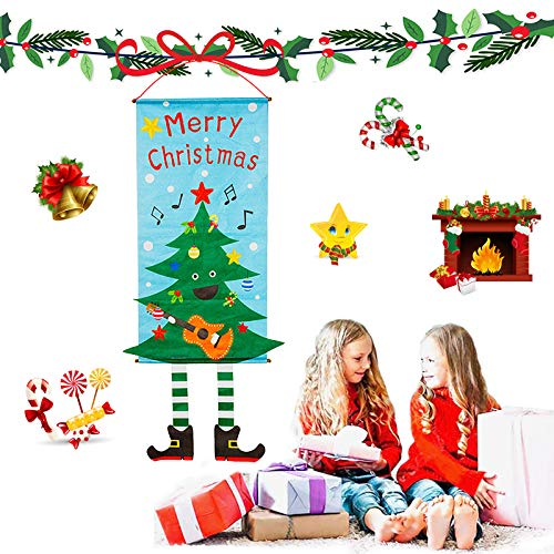 Gxhong Bandera para Colgar en la Puerta de Navidad Suministros de Decoración de Porche de Puerta Arbol de Navidad para Pared Ventana Oficina Cafetería Tienda
