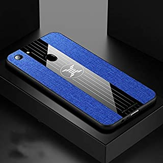 Phone case For OPPO A73 Stitching Cloth Textue Shockproof TPU Protective Case(Black) (Color : Blue)