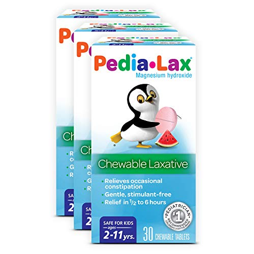 Pedia-Lax Laxative Chewable Tablets for Kids, Ages 2-11, Watermelon Flavor, 30 Count (Pack of 3)