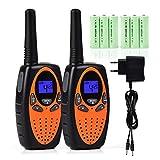 Tyhbelle 2er Funkgerät Walkie Talkie für Kinder PMR446 lizenzfrei 8 Kanäle mit LCD-Display (2er-Orange (mit akku und Ladekabel))