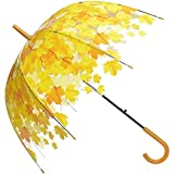 Auto Open Transparent Clear Leaf Bubble Shape Cartoon POE Stick Dome Rain Umbrella (yellow)