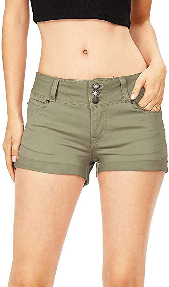 Ladies Spring and Summer Denim Shorts European and American Style Solid Color