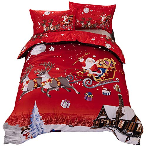 Shamdon Home Collection Copripiumini Babbo Natale, Set di Biancheria da Letto Decorazione Natalizia per Interni, Regali per Natale,King(220x240 cm)