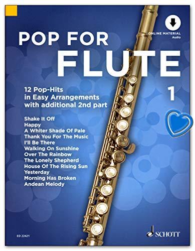 Pop For Flute - aktuelle Pop-Songs, bekannte Filmsongs und zeitlose Evergreens in einfachen Arrangements - Notenbuch mit Online Audio und Notenklammer