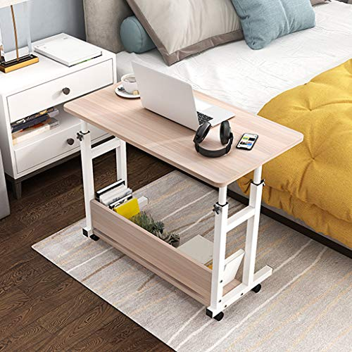 US Fast Shipment Computer Desk,Height Adjustable Mobile Laptop Stand Desk Rolling Cart with Storage,Home Office Computer Table Study Writing Desk Bedside Table (60cm×40cm, Yellow)