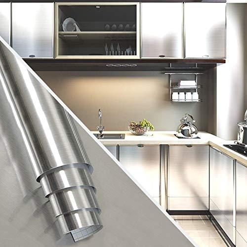 [Isdy]壁紙シールはがせる壁紙リメイクシート無地キッチンリフォームウォールステッカーカッティング(40cm×10m・ステンレス調シルバー)