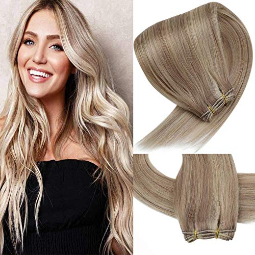 VeSunny Hair Weft Extensions 22inch Blonde Highlights Sew in Weft Hair Extensions Remy Straight Bundle Weave Human Hair 100g/pack