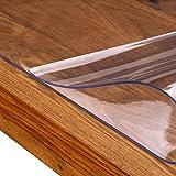 laro Tischfolie Tischdecke Transparent Durchsichtig Abwaschbar Garten-Tischdecke Tischschutz-Folie PVC Plastik-Tischdecken Wasserabweisend Eckig 2 mm Dicke Meterware, Größe:100x200 cm - 6