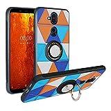 Alapmk Kompatibel mit Nokia 8.1 Hülle, Pattern Design [Kratzfest] TPU Schutzhülle Hülle mit Metallfingerringständer [Magnetic Car Mount], Stoßfest Handyhülle Cover für Nokia X7 2018,Triangle