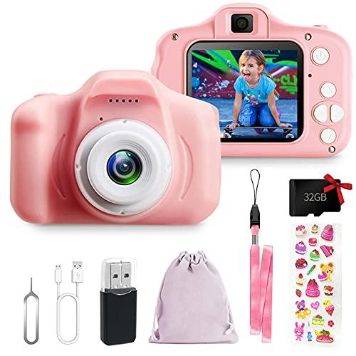 Cámara de fotos digital para niños y niñas, cámara de vídeo HD 1080P, para todos los pequeños, juguetes para cámara de fotos para regalo de cumpleaños, para 3, 4, 5, 6, 7, 8 años (rosa)