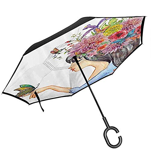 Parapluies Floraux avec Protection UV Branches de Fleurs de Cerisier Japonais Sakura Pleines de beauté de Printemps