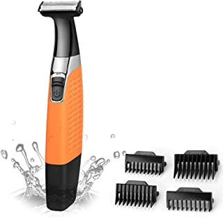 Afeitadora eléctrica Precision Trimmer Body Hair Trimmer Hombre Hair Trimmer Secadora de cabello húmedo recargable inalámbrico USB (Naranja)