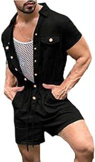 Mens Short Sleeve Onesie Jumpsuit Drawstring Button Overall Short Lapel Romper