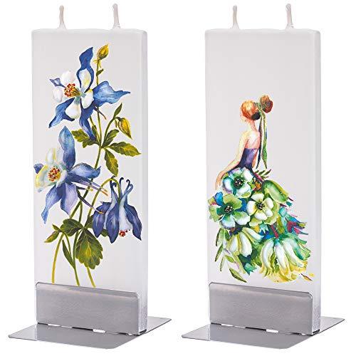 flatyz Deko Kerzen - Besondere Kerzen Zum Verschenken - Handgemachte Kerzen - Flache Kerzen Deko - Lange Brenndauer 3-4 Stunden 60x10x150mm - 2er-Set Kleid mit Blumen in grün und Rocky Mountain