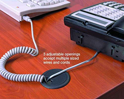 "CordAway Grommet, Adjustable, 2"" dia., 1-1/8"" deep, Black, 1/Pack (00201)"